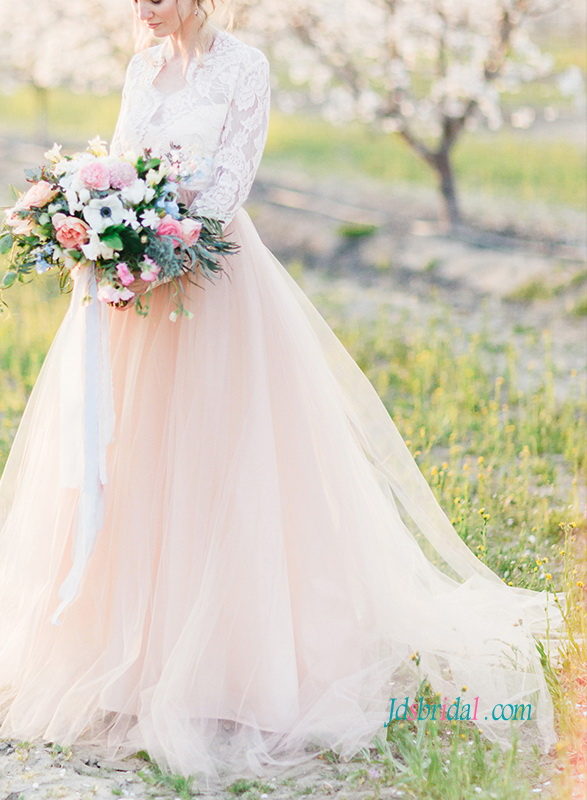 sexy sheer halter neck lace bodice blush pink colored organza wedding ball gown dress