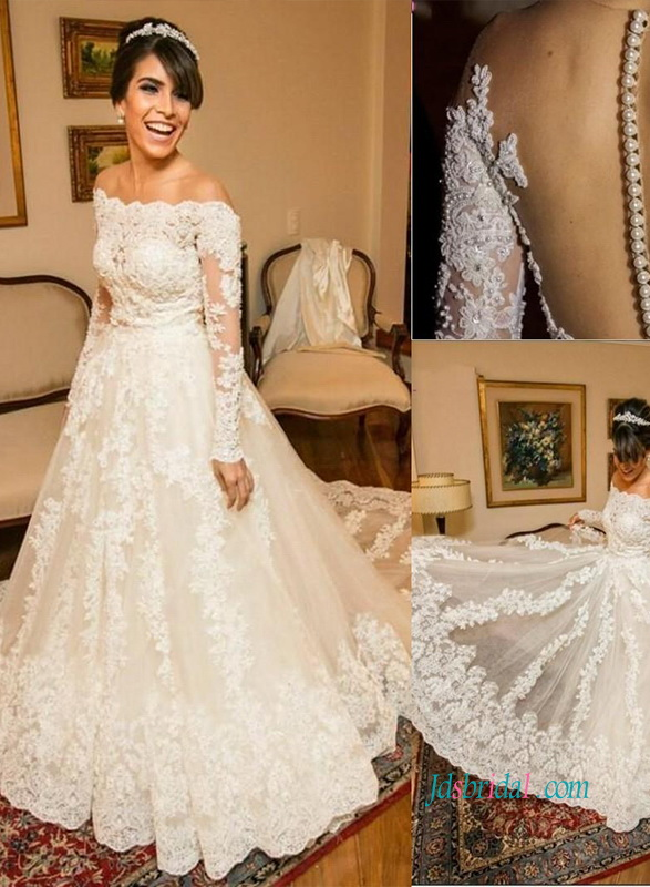 modest off the shoulder illusion long sleeves lace tulle wedding ball gown dress