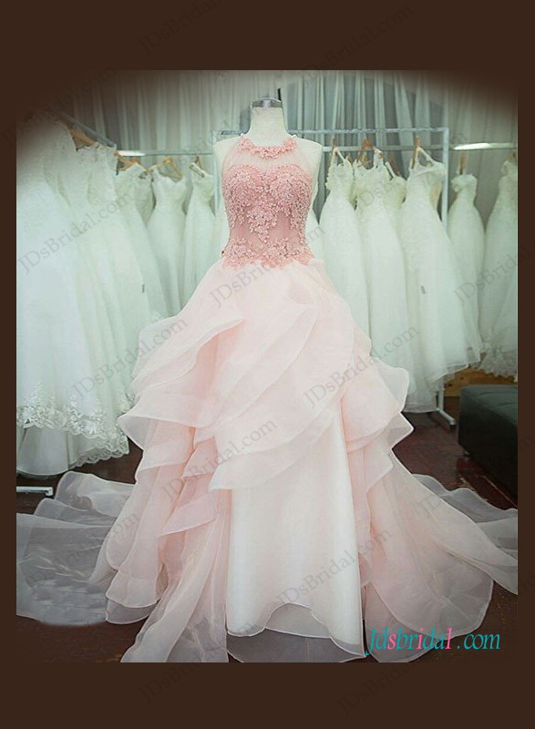 H1062 Pink blush colored halter organza ball gown wedding dress