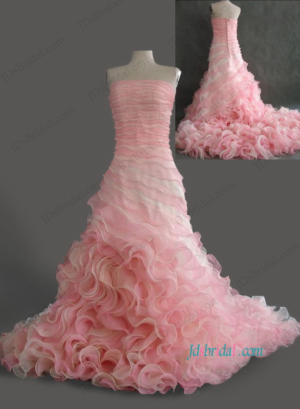 H1063 Gorgeous blush pink champagne colored organza swirl mermaid wedding dress
