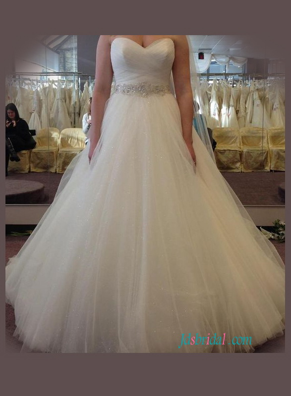 5890979c67 H1064 Plus size sparkly tulle ball gown wedding dress with belt