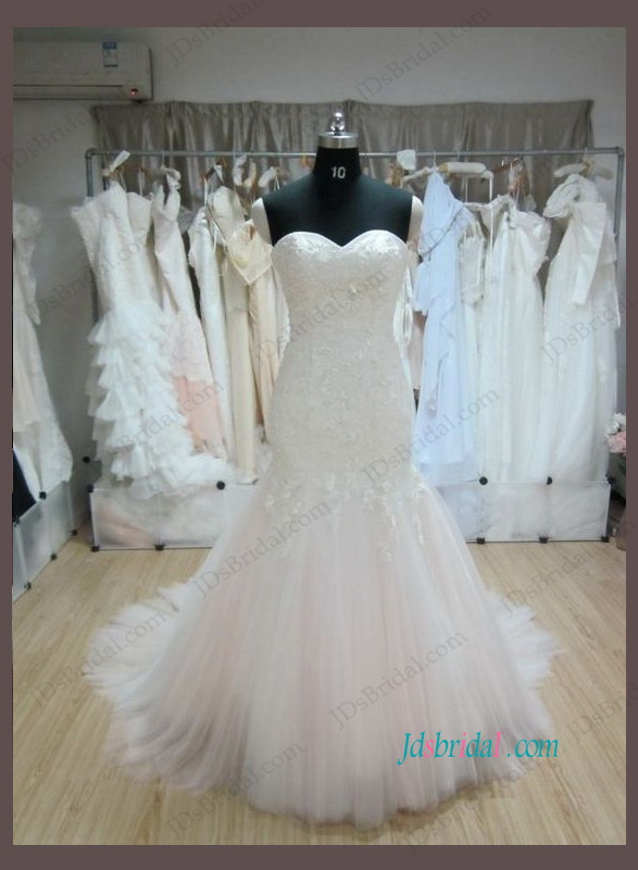 H1065 Alluring lace mermaid blush tulle bottom wedding dress