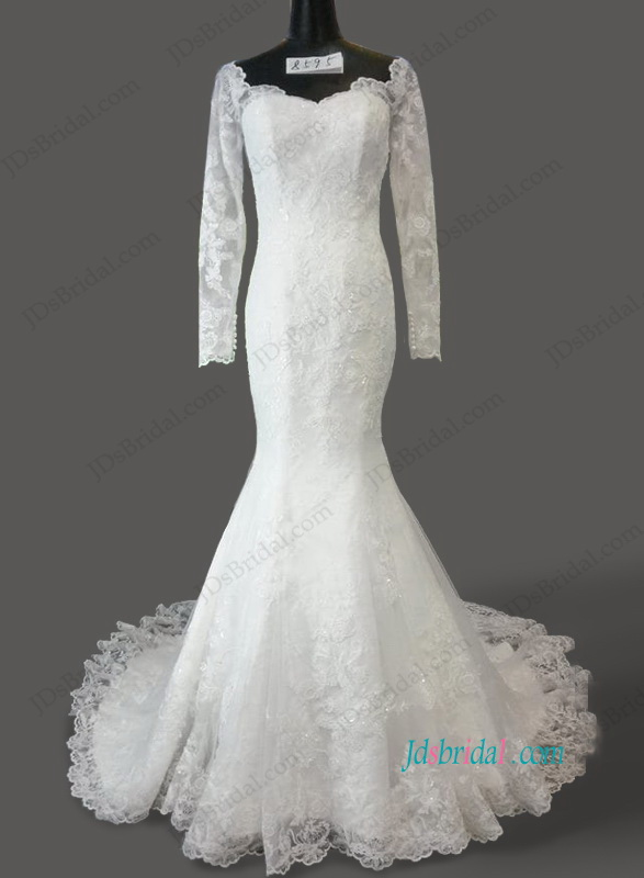 H1067 Sheer back illusion lace long sleeved mermaid wedding dress
