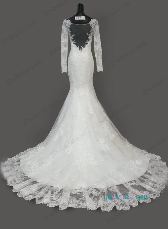H1067 Sheer Back Illusion Lace Long Sleeved Mermaid Wedding Dress