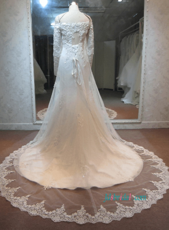 H1069 Sexy off shoulder half length sleeves lace wedding dress