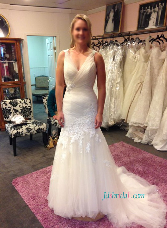 H1071 Sexy keyhole open back tulle mermaid wedding dress