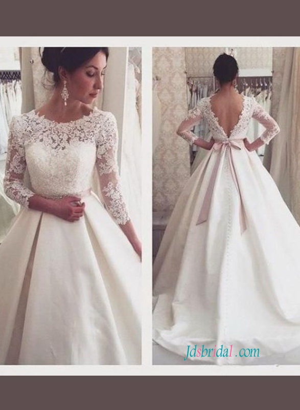 H1072 Elegant illusion lace bateau neck long sleeved wedding dress