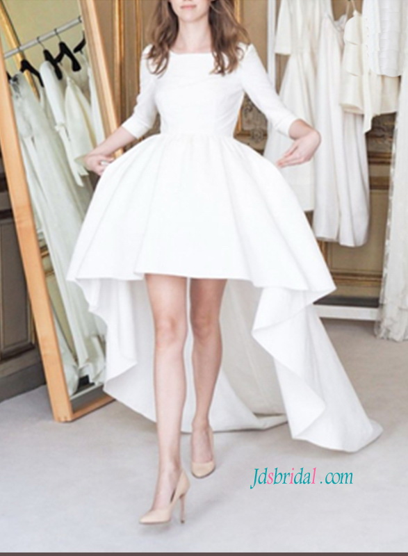 H1073 Simple lovely high low hemline wedding dress with sleeves