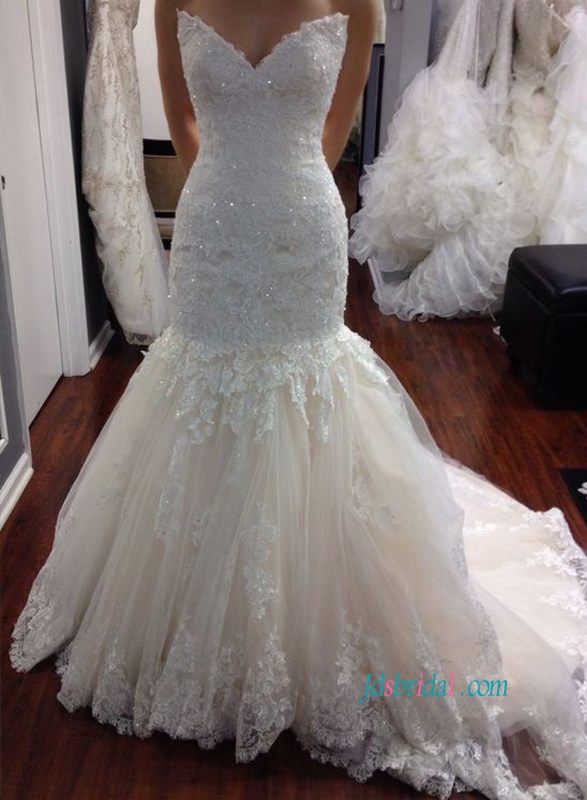 H1074 Stunning inspired designer mermaid wedding dress