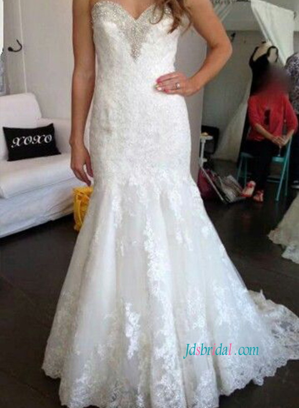 H1075 Gorgeous sweetheart lace mermaid wedding dress