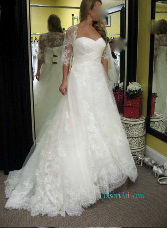 H1076 Ruching bodice lace appliqued ball gown wedding dress