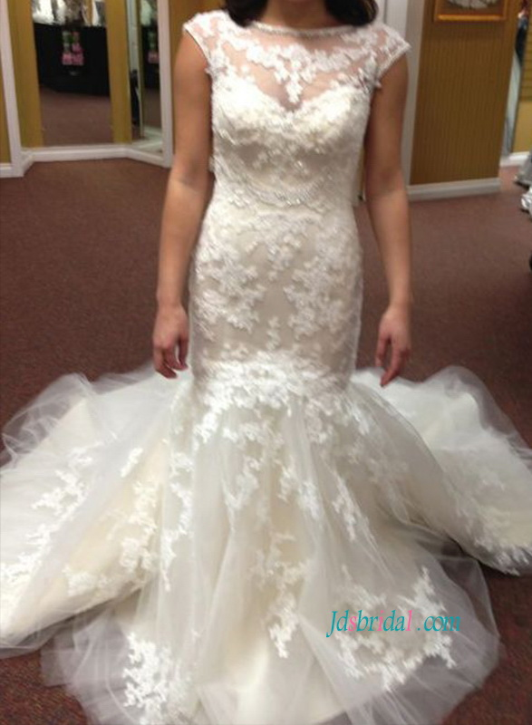 H1077 Beautiful illusion bateau neck lace mermaid wedding dress
