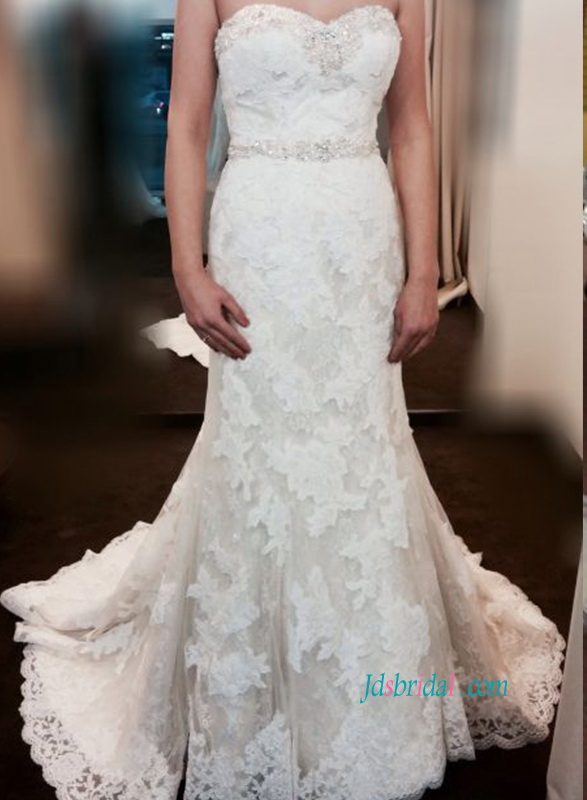 H1078 Classic sweetheart neck lace slim wedding dresses