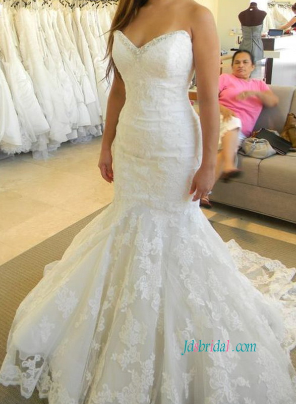H1079 Gorgeous sweetheart neck lace mermaid wedding dresses