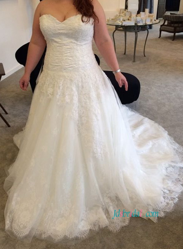 H1084 Plus size strapless lace a line wedding dresses