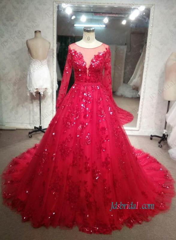 H1085 Sparkly sequined red lace long sleeved wedding evening gown