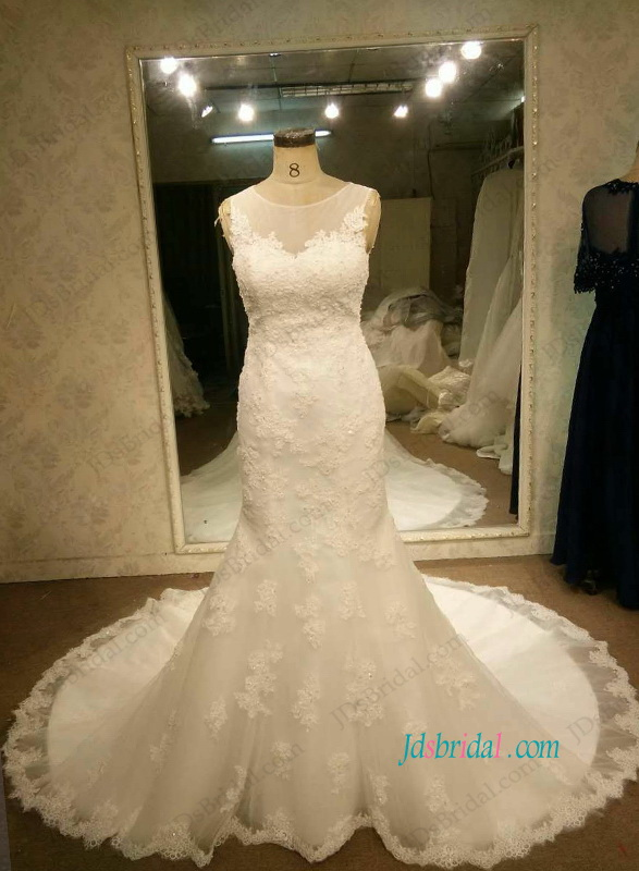 H1086 Illusion scoop tulle top keyhole back lace mermaid wedding dress
