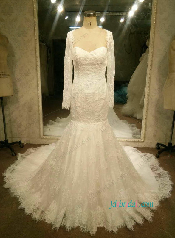H1089 Sexy low back lace mermaid wedding dress with sleeves