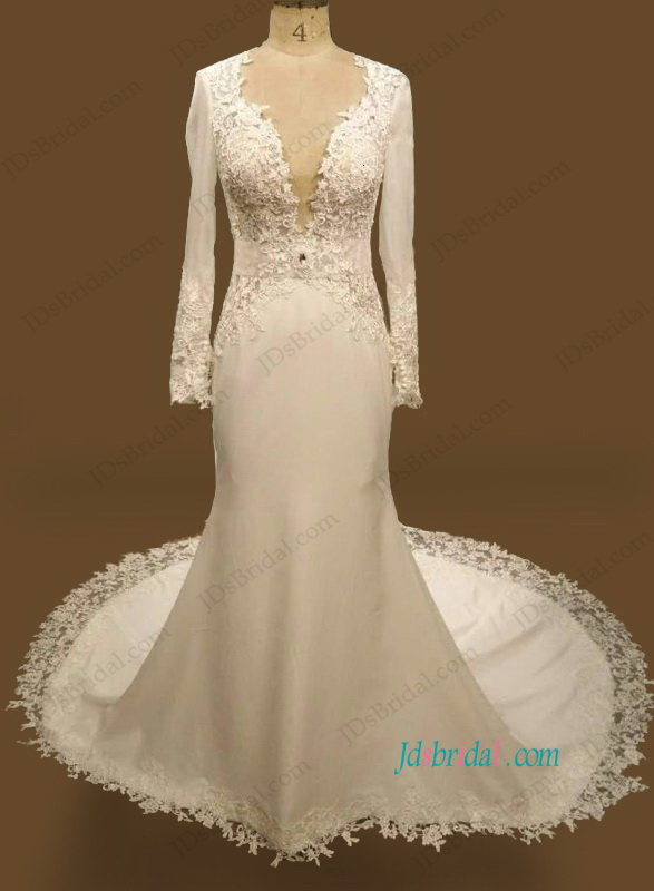 H1090 sexy plunging open back mermaid lace wedding dress for Lace wedding dresses open back