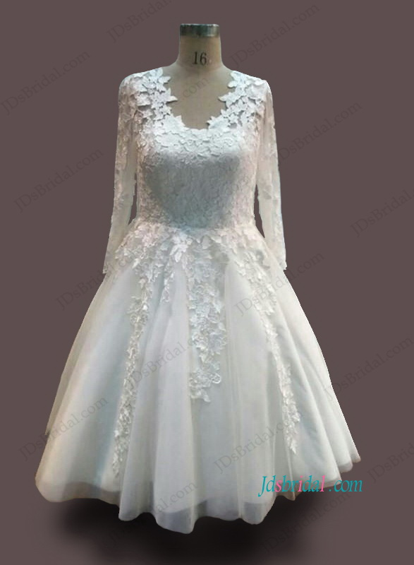 H1091 Vintage illusion lace long sleeved tea length wedding ...