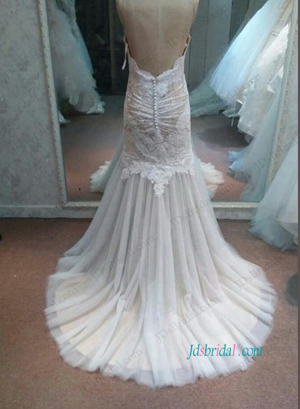 H1092 Sexy low back champagne lined lace mermaid wedding dress