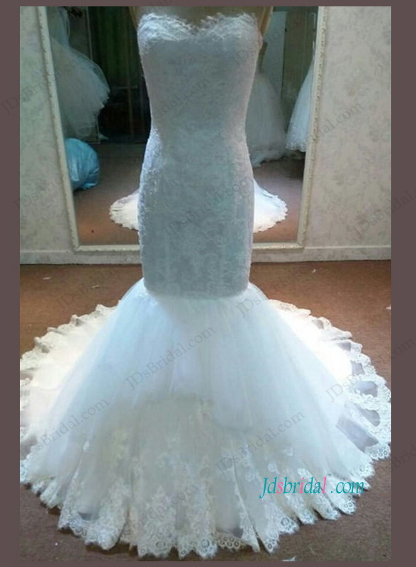 H1093 Gorgeous Sweetheart lace mermaid wedding bridal dress