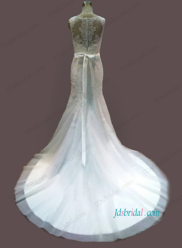 H1094 Beautiful scoop neck lace mermaid wedding dress with belt