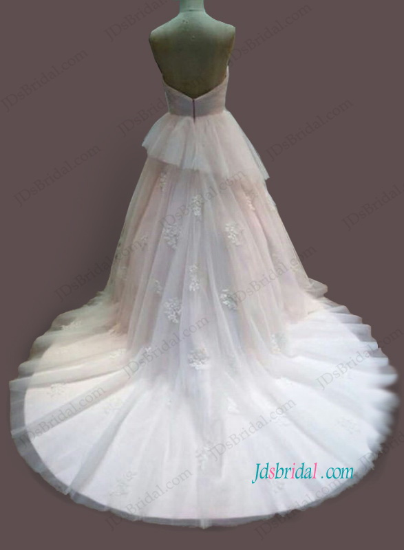 H1095 Feminine pink and ivory colored princess wedding dress