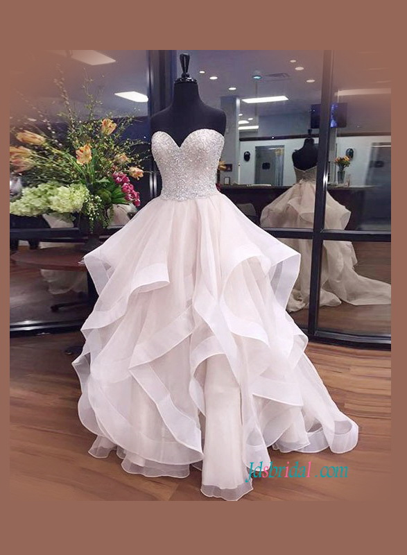 H1096 Gorgeous beading sweetheart bodice cascade organza ball gown