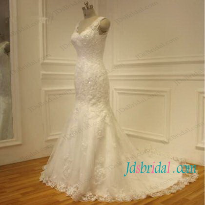 H1097 Lace strappy low back mermaid wedding dresses
