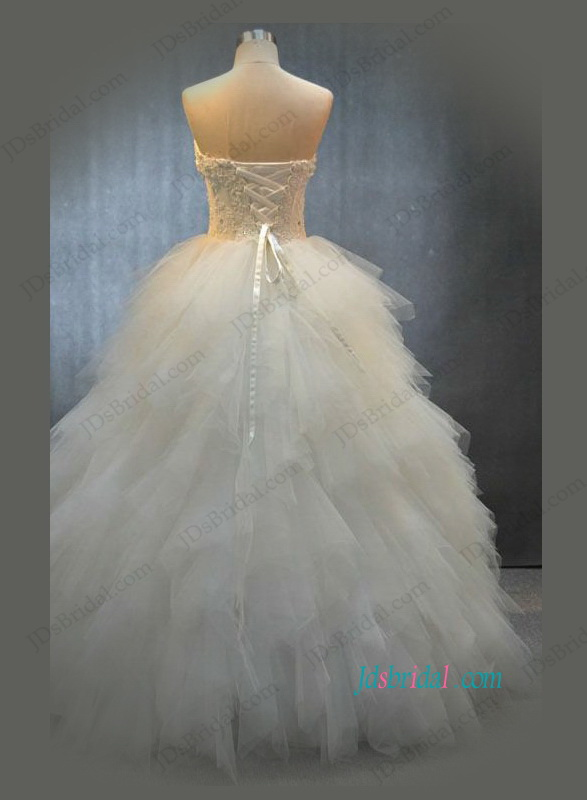 H1098 See through lace bodice tulle ruffles ball gown wedding dress
