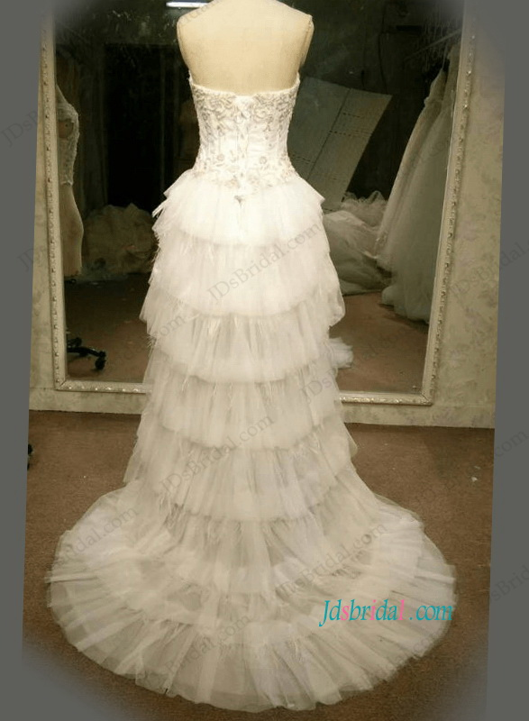 H1099 Sexy strapless high low a line beach wedding party dress