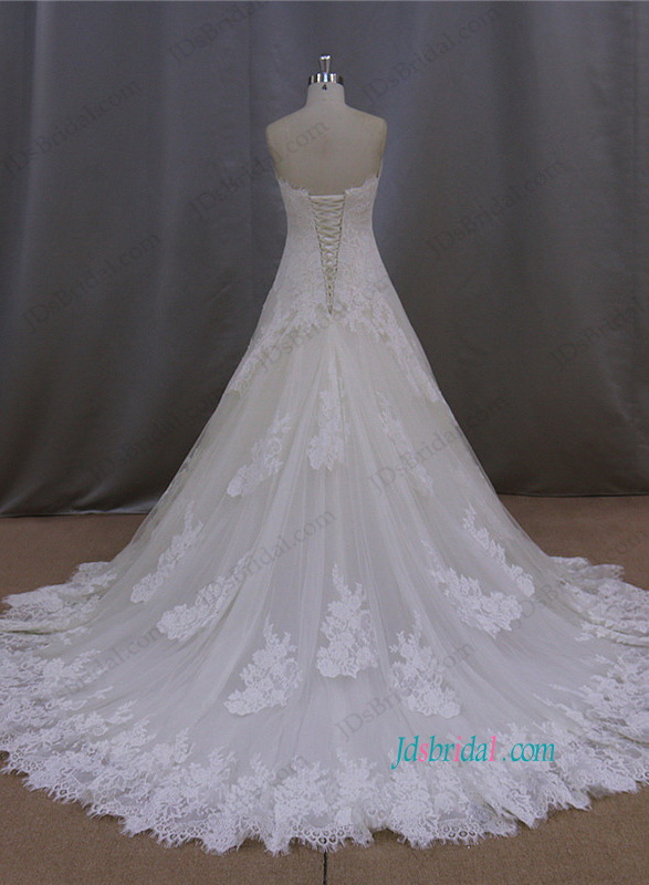 H1100 Gorgeous sweetheart neck lace a line wedding dress