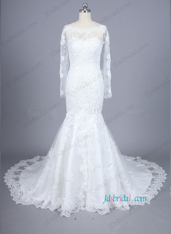 romance lace long sleeved mermaid wedding dress with illusion lace bateau neckline