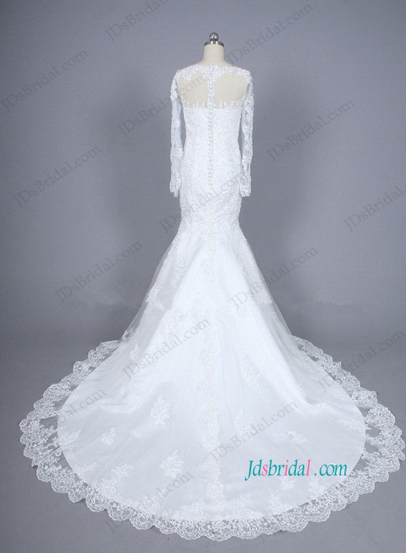 H1102 white lace long sleeved mermaid wedding bridal dress