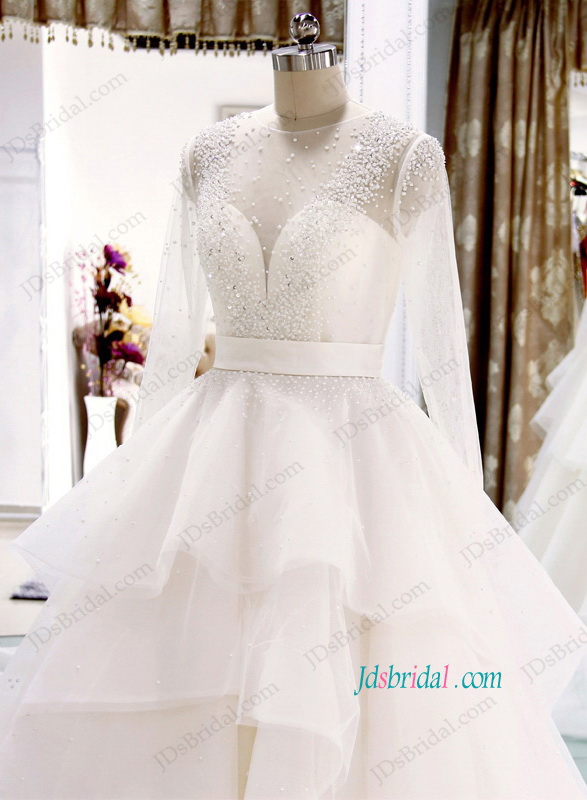 H1104 Beautiful Illusion tulle top long sleeved tiered ball gown wedding dress