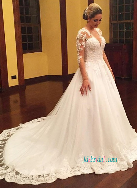 H1105 Modest illusion lace long sleeved tulle princess wedding dress