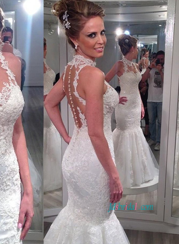 H1106 Sheer tulle back halter lace mermaid wedding dress :