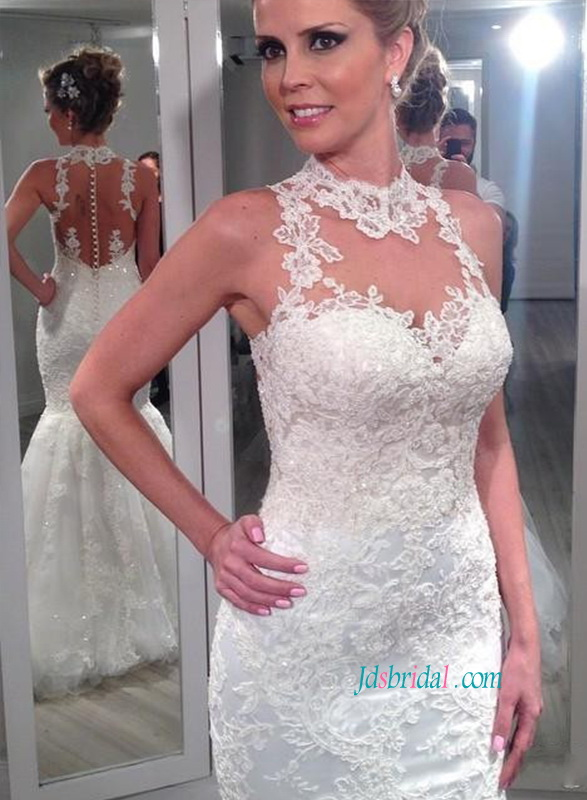 H1106 Sheer tulle back halter lace mermaid wedding dress