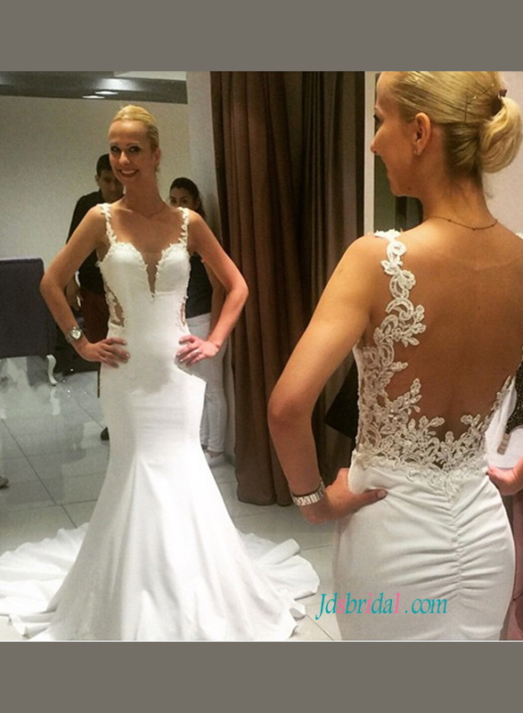 H1108 Sexy sheer back plunging sweetheart mermaid wedding dress