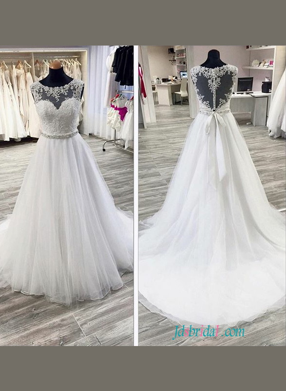 H1109 Romance sheer back scoop neck tulle wedding dress