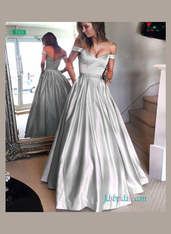 H1111 Grey colored off the shoulder satin a line wedding prom dress