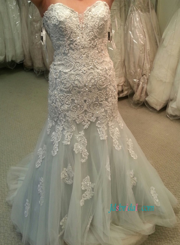 H1112 Stunning dusty blue ivory lace mermaid wedding dress