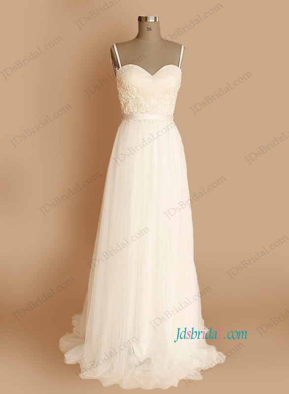 Spaghetti straps wedding dresses sweetheart low back for Plain wedding dresses with straps