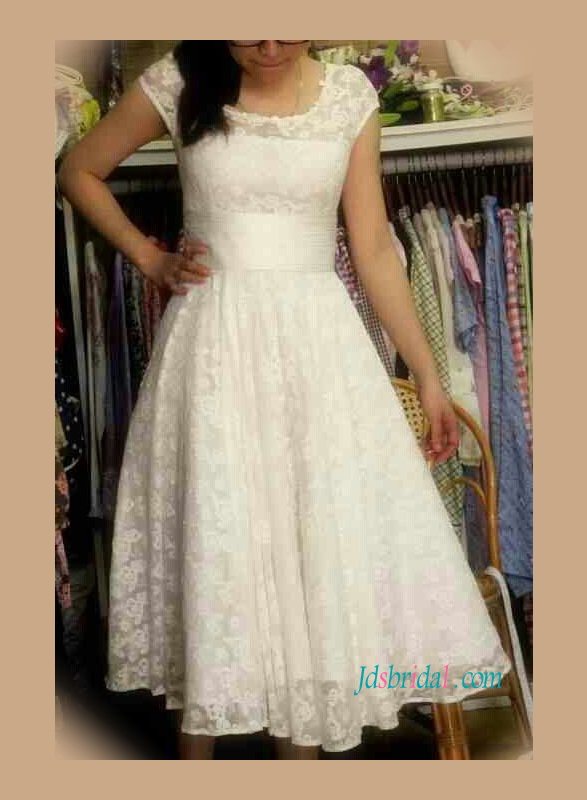 H1115 Cheap vintage lace tea length short wedding dress