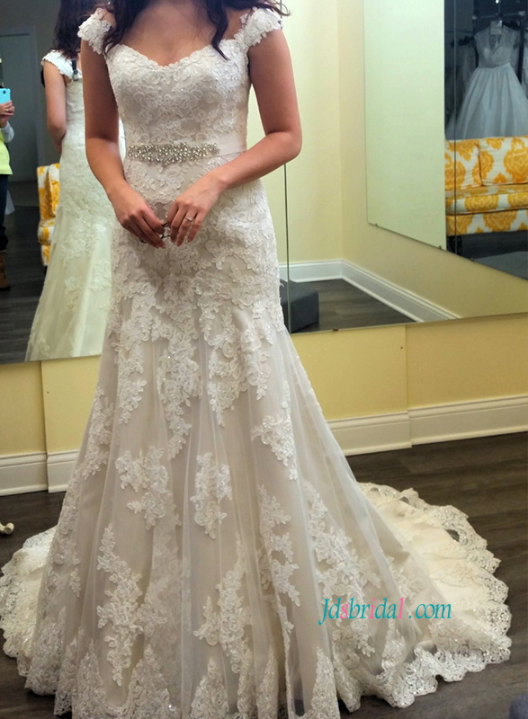 custom modest cap sleeved lace modified a line wedding bridal dress with sweetheart neck