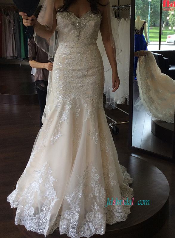 H1118 Gorgeous champagne lace trumpet wedding dresses