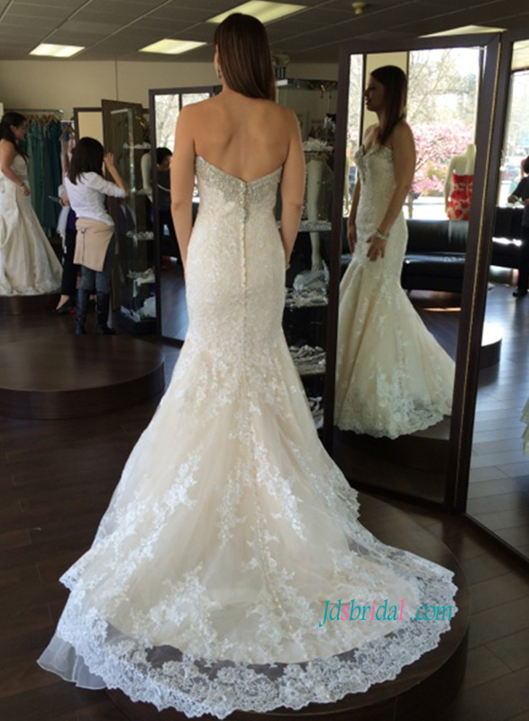stunning beading sweetheart neck lace trumpet champagne colored mermaid wedding dresses