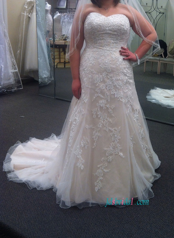 H1120 Plus size champagne ivory colored a line lace wedding dress