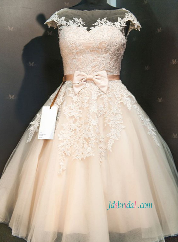 H1121 Champagne colored lace tea length vintage wedding dress